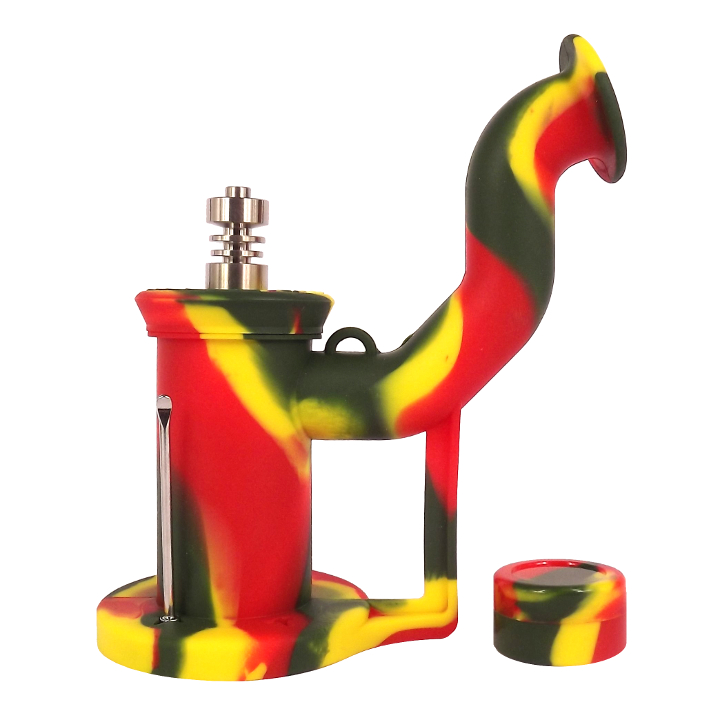 a rasta coloured silicone dab rig