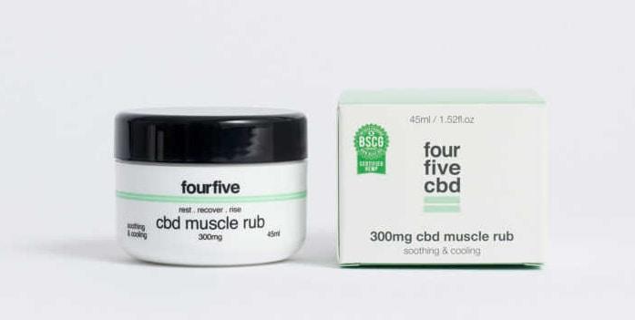 FourFiveCBD 300mg CBD Muscle Rub tub next to box